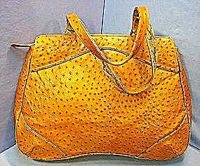 Ostrich Leather Handbag Leslie Hamel Large