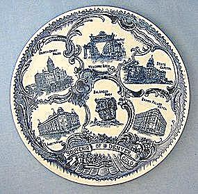 Denver Colorado Plate Porcelain Blue Souvenir (Image1)