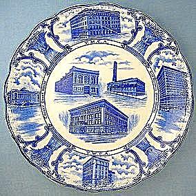 Staffordshire Flow Blue YMCA plate - F. Winkel & Co (Image1)