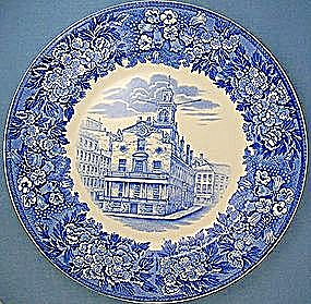 Wedgwood Blue Transfer Old State House Boston plate (Image1)