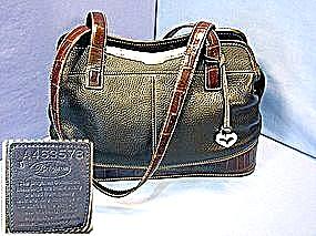 Brighton Croco Tote Black Brown Leather  Handbag (Image1)
