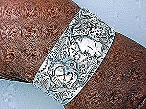 Native American Sterling Silver Indian Face Cuff