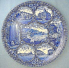 Staffordshire Blue Rowland & Marcellus California Plate (Image1)