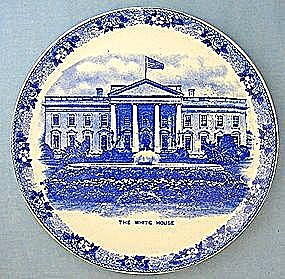 The White House Flow Blue  Adams China England (Image1)