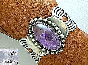 Taxco Mexico 980 Silver Amethyst Cuff Bracelet (Image1)