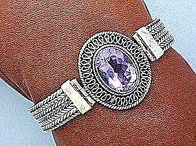 Amethyst Sterling Silver Bezel Set Bracelet (Image1)