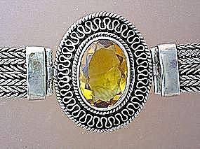 Citrine Sterling Silver Bezel Set  Bracelet . . (Image1)