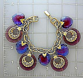 WARNER Crystal Gold Pink Blue Crystal Heart Bracelet (Image1)