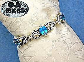 JOHN ATENCIO Sterling Silver 18K Blue Topaz Bracelet (Image1)
