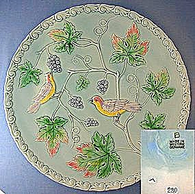 Majolica Grapes Leaves  Birds Plate Western Germany (Image1)