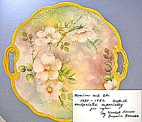 China Hand Painted Cake Plate With Handles Flowers