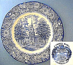 Staffordshire Liberty Blue - Independence Hall Plate