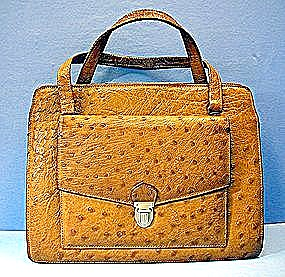 Ostrich Genuine Leather  50s 60s Handbag (Image1)
