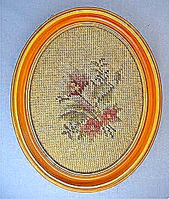 Tapestry Hand Stitched Flowers Framed Picture (Image1)