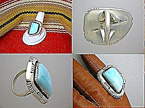 Navajo Larimar Sterling Silver Ring By Roy Begay