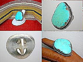 Turquoise Cripple Creek Sterling Silver American Inring