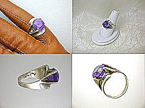 Ring  Sterling Silver Faux Alexandrite Mexico Eagle Mar (Image1)