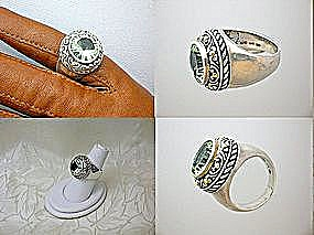 Ring 18K Gold Green Amethyst  and Sterling Silver (Image1)