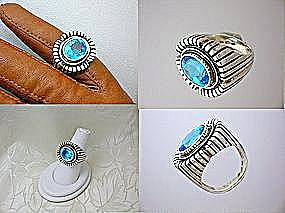 Ring 14K Gold Blue Topaz Sterling Silver  (Image1)