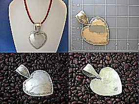 Sterling Silver Taxco Mexico 3 3/4 inch Heart Pendant (Image1)