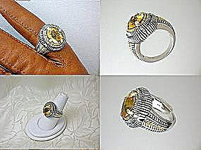 Ring 14K Gold Citrine Sterling Silver (Image1)