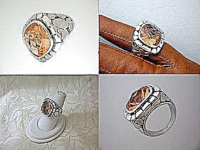 Sterling Silver Citrine CZ River Rock Style Ring (Image1)