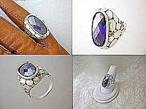 Sterling Silver Gold Amethyst River Rock Design  Ring (Image1)