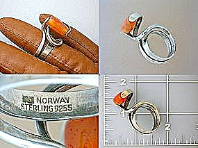 Norway Sterling Silver Signed M Carnelian Ring