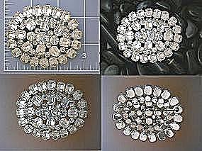 Crystal Rhodium Silvertone HUGE Sparkling Brooch (Image1)