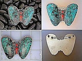 Coral Sterling Silver Tibetan Turquoise Butterfly Brooc (Image1)