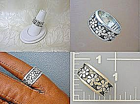 Band Ring Sterling Silver Flower Patterned (Image1)