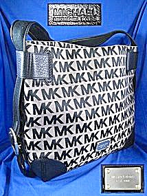 MICHAEL KORS Black Leather Fabric Hobo Bag (Image1)