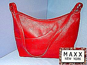 MAXX Red Leather Hobo Handbag (Image1)