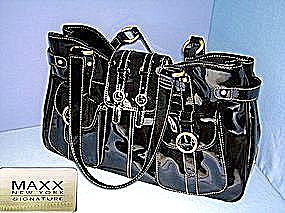 Maxx New York Double Handle Patent Tote Cargo Pocket