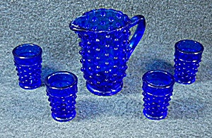 Cobalt Blue Hobnail Glass Childs Lemonade Set