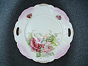 China  Floral serving plate handles and gold highlites  (Image1)