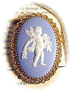 Brooch Pendant 12K GF Blue Wedgwood Cupid (Image1)