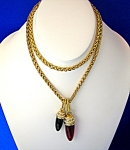 Click to view larger image of Swarovski Crystal Black and Cherry Red 28 Inch necklace (Image1)