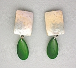 Click to view larger image of Jade Adventurine Sterling Silver  Clip Earrings MB 925  (Image1)