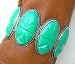 Mexico Silver Green Glass Oval Large Links Bracelet