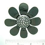 Crystal Black Lucite Flower brooch Vintage