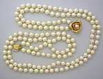Click to view larger image of  Necklace Cultured Pearls 14K Gold Rose Clasp 2 Strand (Image1)