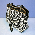 Click to view larger image of Tote Zebra Fabric & leather Antonio Melani   (Image1)