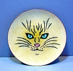 Click here to enlarge image and see more about item 0102200816: Cat Plate ANNEMARIE DAVIDSON  Enamel Decorator