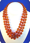 Vintage Graduated Amber Glass 3 Strand Necklace