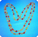 GREEN GOLD GLASS AMBER PLASTIC 60 Inch Necklace