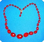 NECKLACE RARE CHERRY AMBER FACETED
