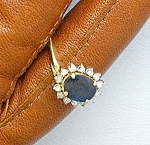 Ring 14K Gold 1.65 Blue Sapphire  Diamond1/3Ct