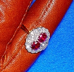 Ring  Ruby 1/2ct Diamond 18K Gold Antique