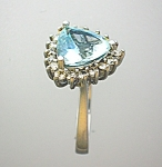 Ring Aquamarine Diamond 14K White Gold